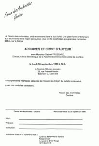 Invitation à la première séance du Forum, 30 septembre 1996